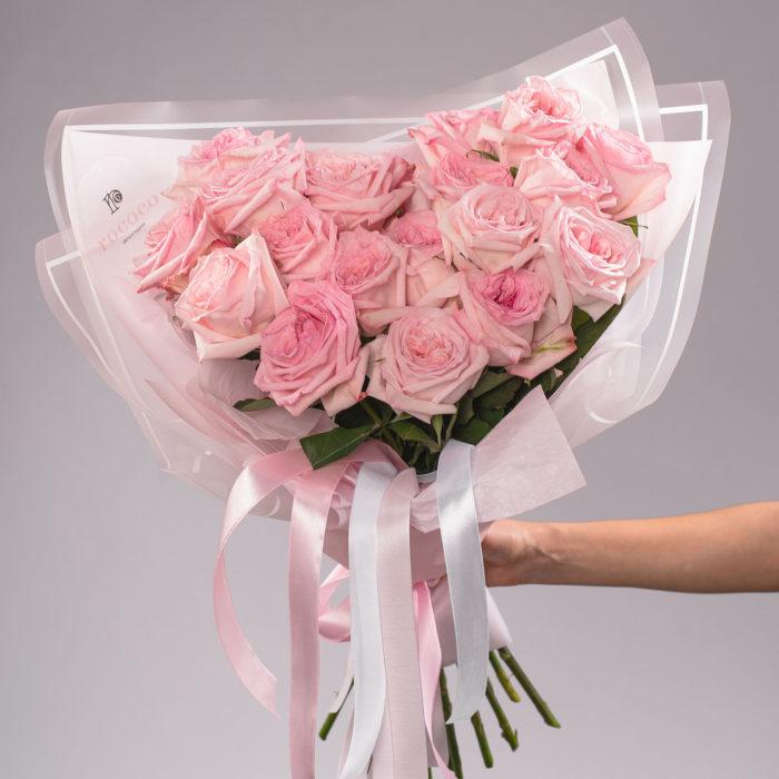 Монобукет из ароматной пионовидной розы O'Hara Pink